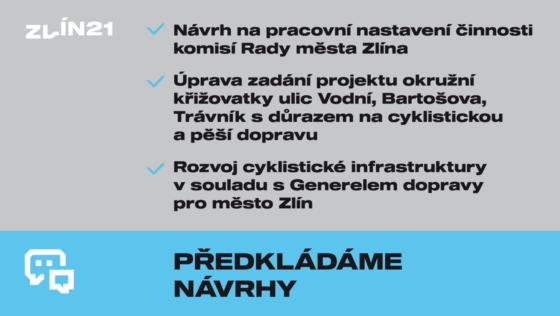 Na zastupitelstvo předkládáme 2 návrhy k cyklodopravě ve Zlíně